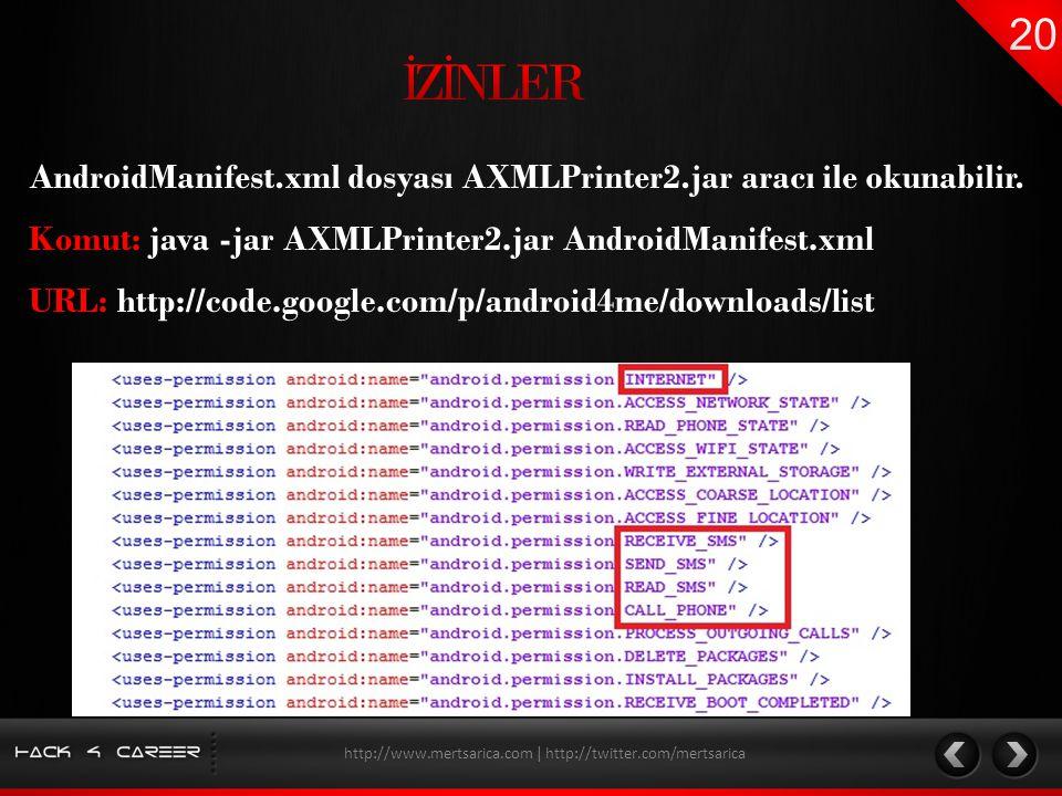 AndroidManifest.xml dosyası AXMLPrinter2.jar aracı ile okunabilir. http://www.mertsarica.com | http://twitter.com/mertsarica Komut: java -jar AXMLPrin