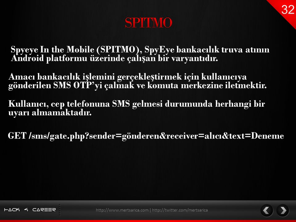 Spyeye In the Mobile (SPITMO), SpyEye bankacılık truva atının Android platformu üzerinde çalı ş an bir varyantıdır. http://www.mertsarica.com | http:/