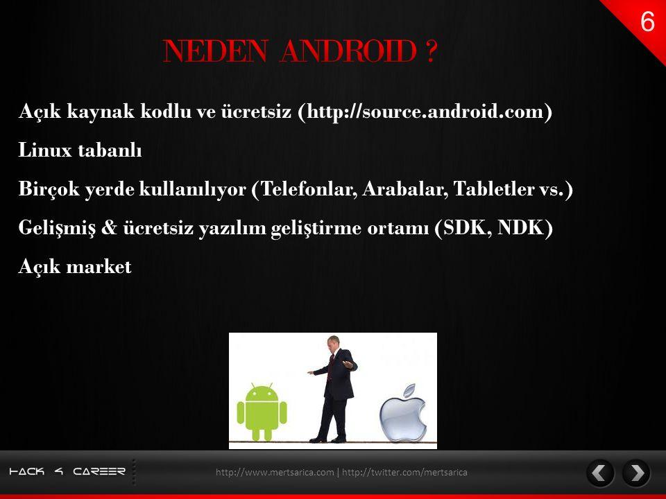 Açık kaynak kodlu ve ücretsiz (http://source.android.com) Geli ş mi ş & ücretsiz yazılım geli ş tirme ortamı (SDK, NDK) Birçok yerde kullanılıyor (Tel