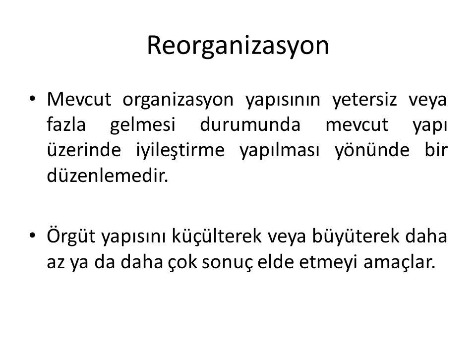 Reorganizasyon • Mevcut organizasyon yapısının yetersiz veya fazla gelmesi durumunda mevcut yapı üzerinde iyileştirme yapılması yönünde bir düzenlemed