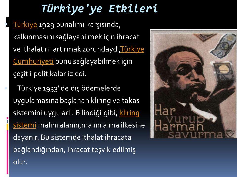 Türkiye'ye Etkileri  Türkiye 1929 bunalımı karşısında, kalkınmasını sağlayabilmek için ihracat ve ithalatını artırmak zorundaydı,Türkiye Cumhuriyeti