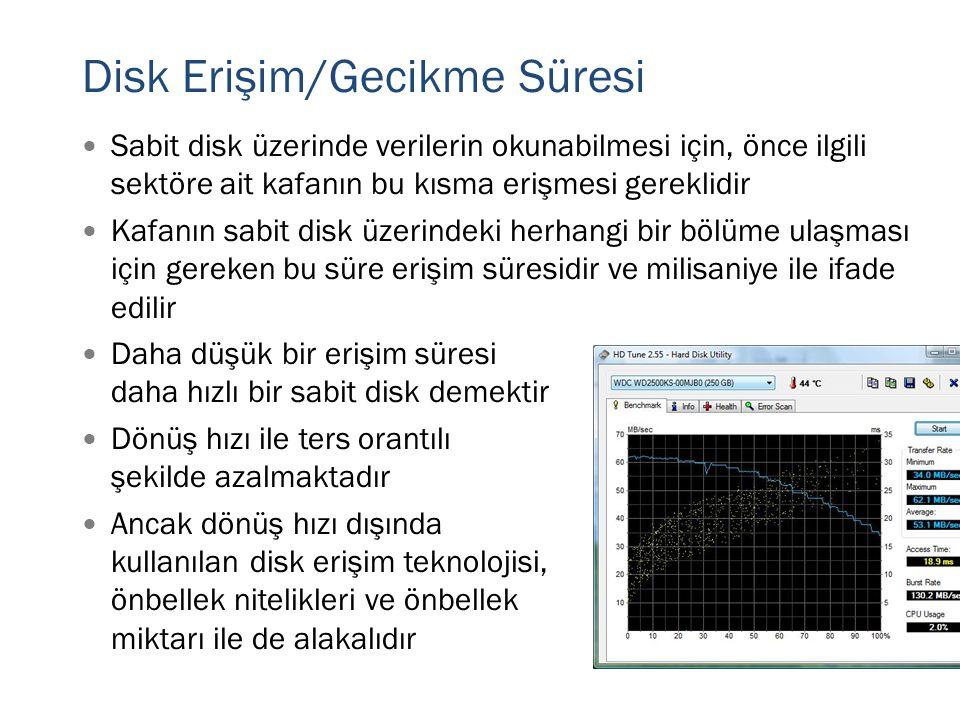 Disk Erişim/Gecikme Süresi  Sabit disk üzerinde verilerin okunabilmesi için, önce ilgili sektöre ait kafanın bu kısma erişmesi gereklidir  Kafanın s