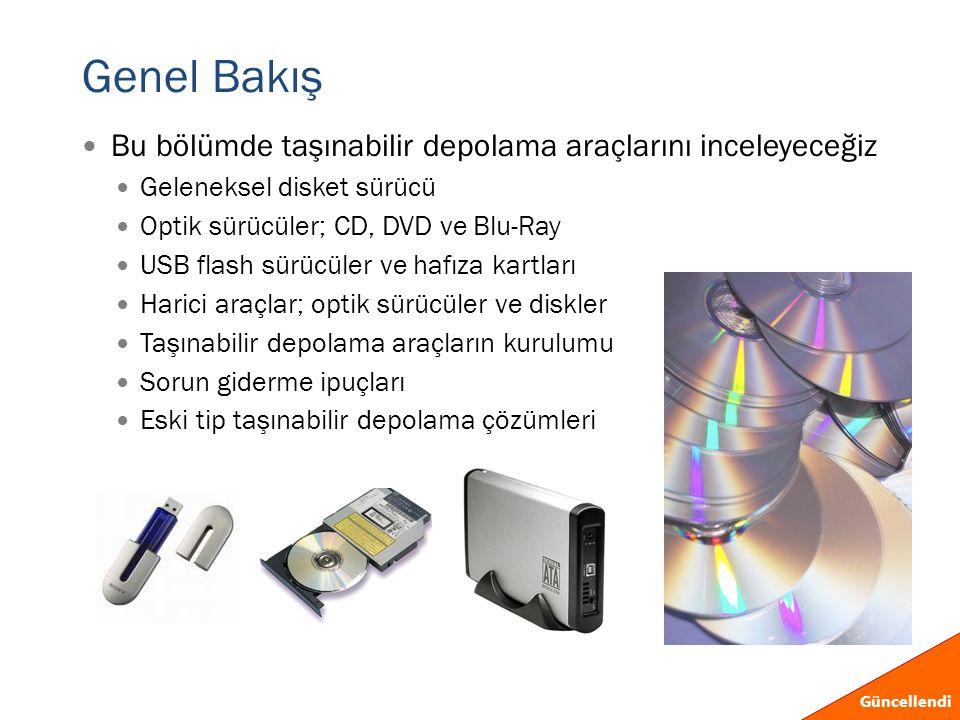 Genel Bakış  Bu bölümde taşınabilir depolama araçlarını inceleyeceğiz  Geleneksel disket sürücü  Optik sürücüler; CD, DVD ve Blu-Ray  USB flash sü