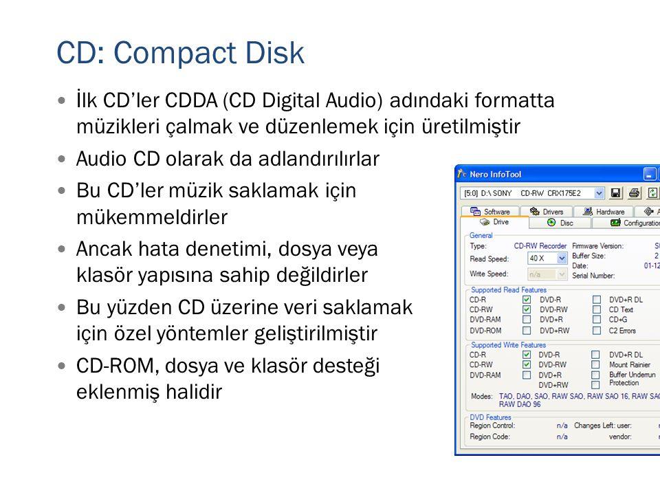 CD: Compact Disk  İlk CD'ler CDDA (CD Digital Audio) adındaki formatta müzikleri çalmak ve düzenlemek için üretilmiştir  Audio CD olarak da adlandır