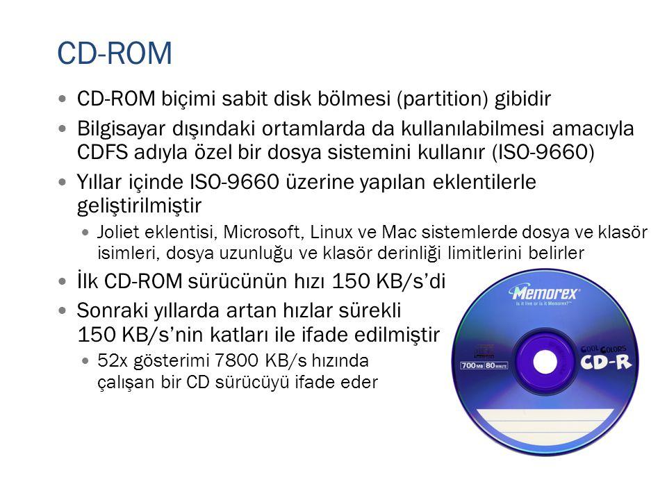 CD-ROM  CD-ROM biçimi sabit disk bölmesi (partition) gibidir  Bilgisayar dışındaki ortamlarda da kullanılabilmesi amacıyla CDFS adıyla özel bir dosy