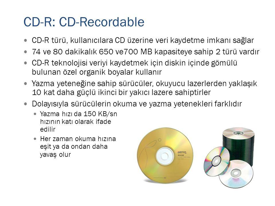 CD-R: CD-Recordable  CD-R türü, kullanıcılara CD üzerine veri kaydetme imkanı sağlar  74 ve 80 dakikalık 650 ve700 MB kapasiteye sahip 2 türü vardır