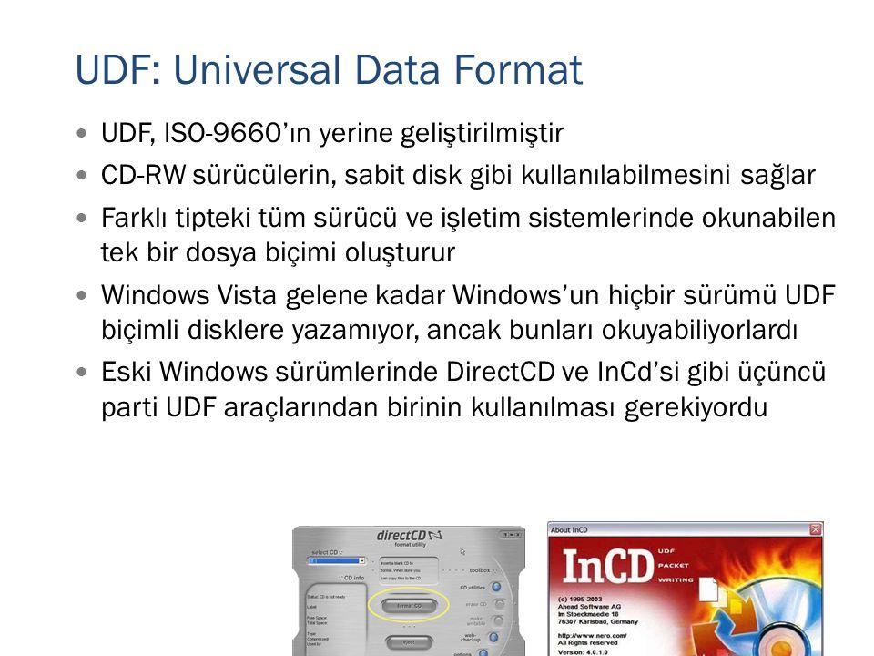  UDF, ISO-9660'ın yerine geliştirilmiştir  CD-RW sürücülerin, sabit disk gibi kullanılabilmesini sağlar  Farklı tipteki tüm sürücü ve işletim siste