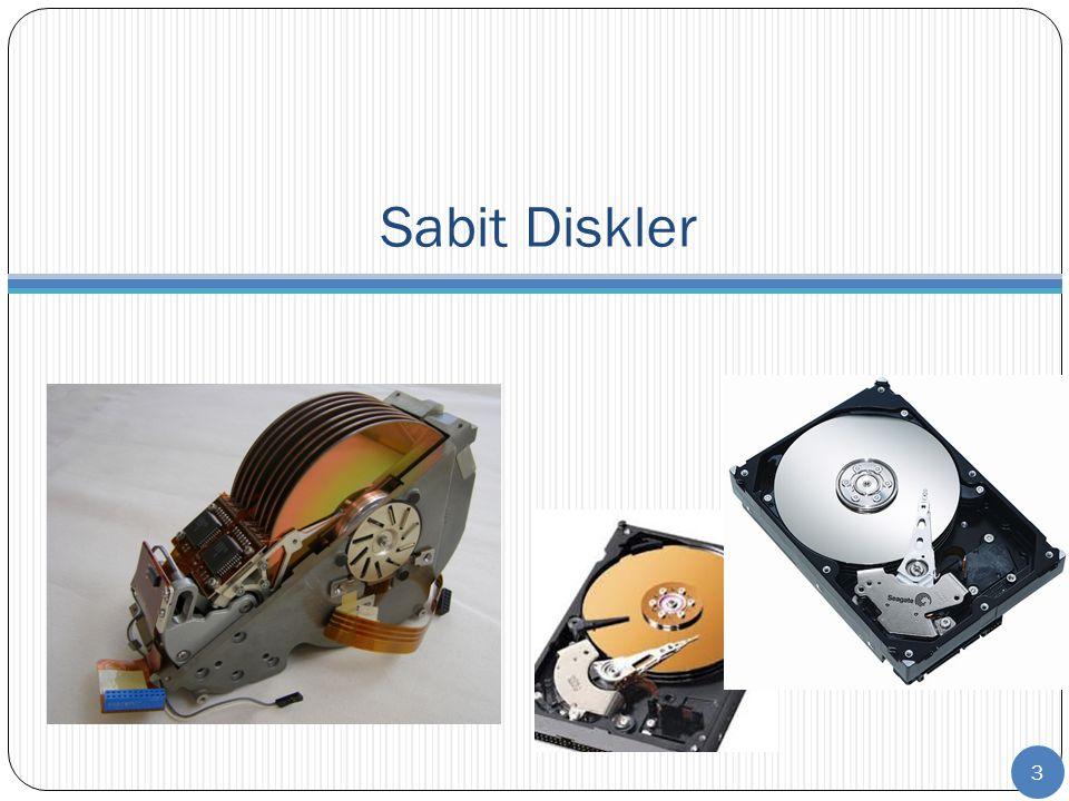 Yeni teknolojiler: SSD (Solid State Drive)  Bu tür, tamamen flaş bellekten oluşturulmuştur  Düşme ve sarsılma sonrası içindeki verilerin kaybolması veya diskin bozulması sonuçlarını önlemeyi amaçlar  İçinde hareketli bir parça olmaması en önemli avantajıdır  Normal sabit diskler, 2 ms içinde 350 G ye dayanabilirken, SSD ler 0,5 Milisaniye içinde 1500 G ye dayanabilmektedir  2.5 dizüstü diskleri 2 Watt harcarken, SSD ler 0,5 Watt harcar  Standart diskler 0/60 o C de çalışırken, SSD ler -25/85 o C de çalışabilir