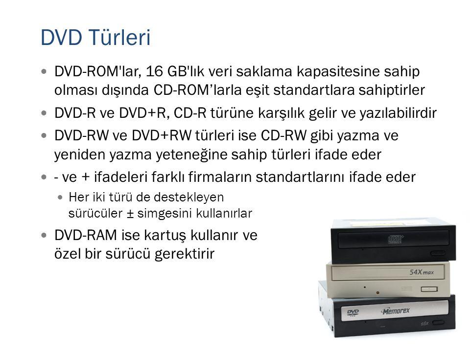 DVD Türleri  DVD-ROM'lar, 16 GB'lık veri saklama kapasitesine sahip olması dışında CD-ROM'larla eşit standartlara sahiptirler  DVD-R ve DVD+R, CD-R