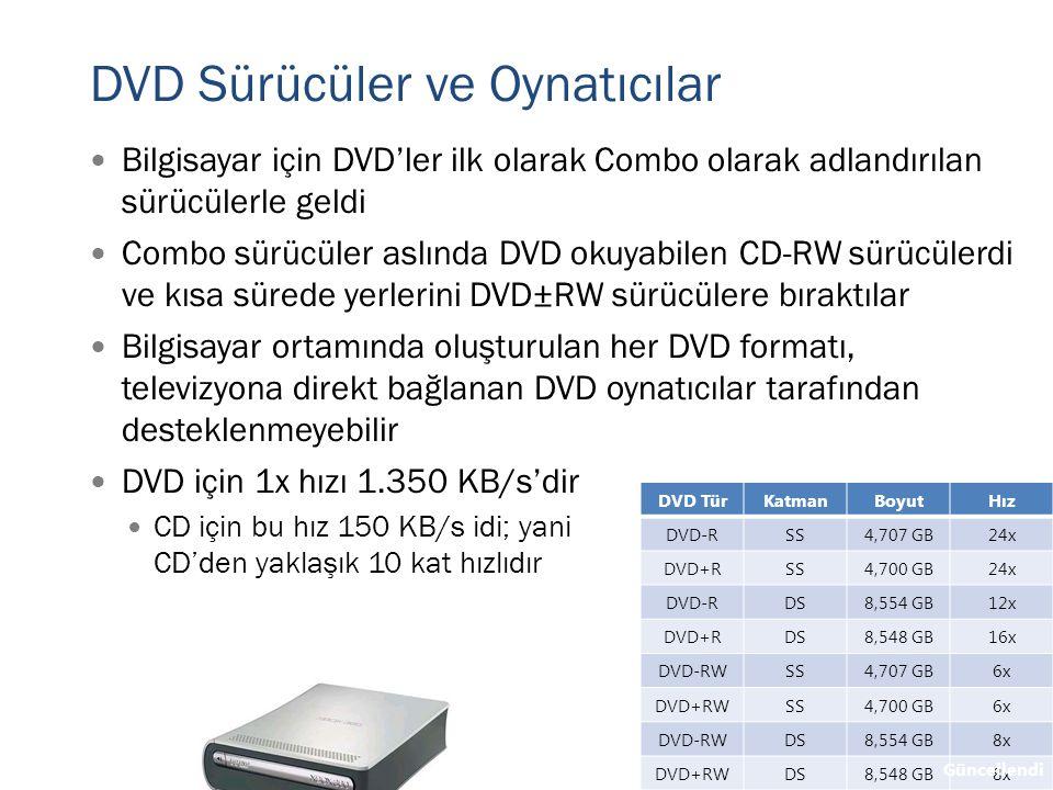 DVD Sürücüler ve Oynatıcılar  Bilgisayar için DVD'ler ilk olarak Combo olarak adlandırılan sürücülerle geldi  Combo sürücüler aslında DVD okuyabilen