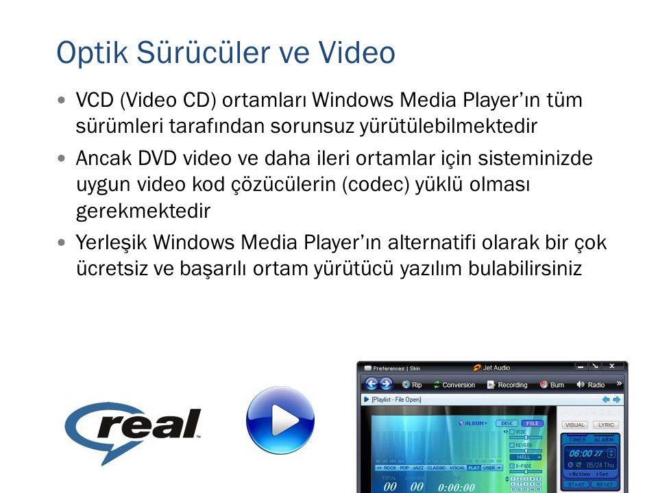  VCD (Video CD) ortamları Windows Media Player'ın tüm sürümleri tarafından sorunsuz yürütülebilmektedir  Ancak DVD video ve daha ileri ortamlar için