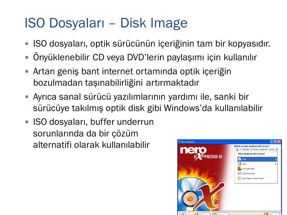 ISO Dosyaları – Disk Image  ISO dosyaları, optik sürücünün içeriğinin tam bir kopyasıdır.  Önyüklenebilir CD veya DVD'lerin paylaşımı için kullanılı