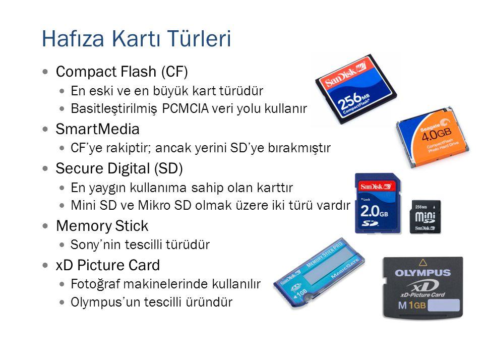 Hafıza Kartı Türleri  Compact Flash (CF)  En eski ve en büyük kart türüdür  Basitleştirilmiş PCMCIA veri yolu kullanır  SmartMedia  CF'ye rakipti