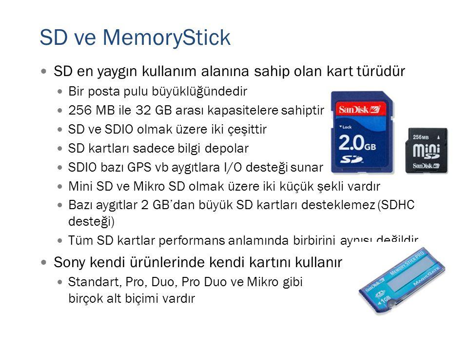 SD ve MemoryStick  SD en yaygın kullanım alanına sahip olan kart türüdür  Bir posta pulu büyüklüğündedir  256 MB ile 32 GB arası kapasitelere sahip