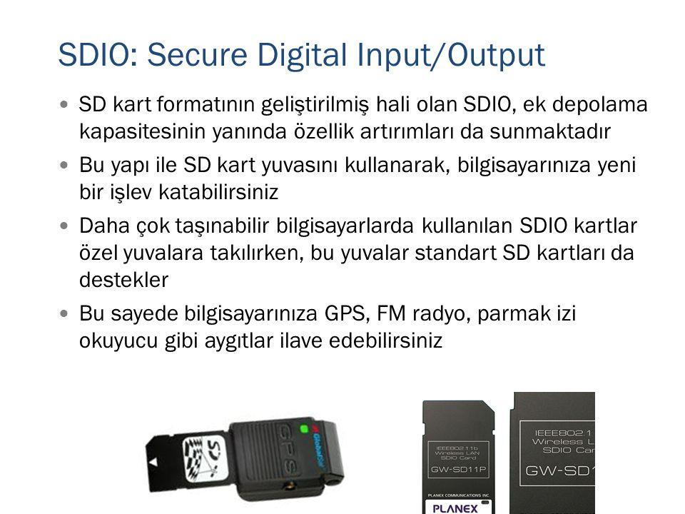 SDIO: Secure Digital Input/Output  SD kart formatının geliştirilmiş hali olan SDIO, ek depolama kapasitesinin yanında özellik artırımları da sunmakta