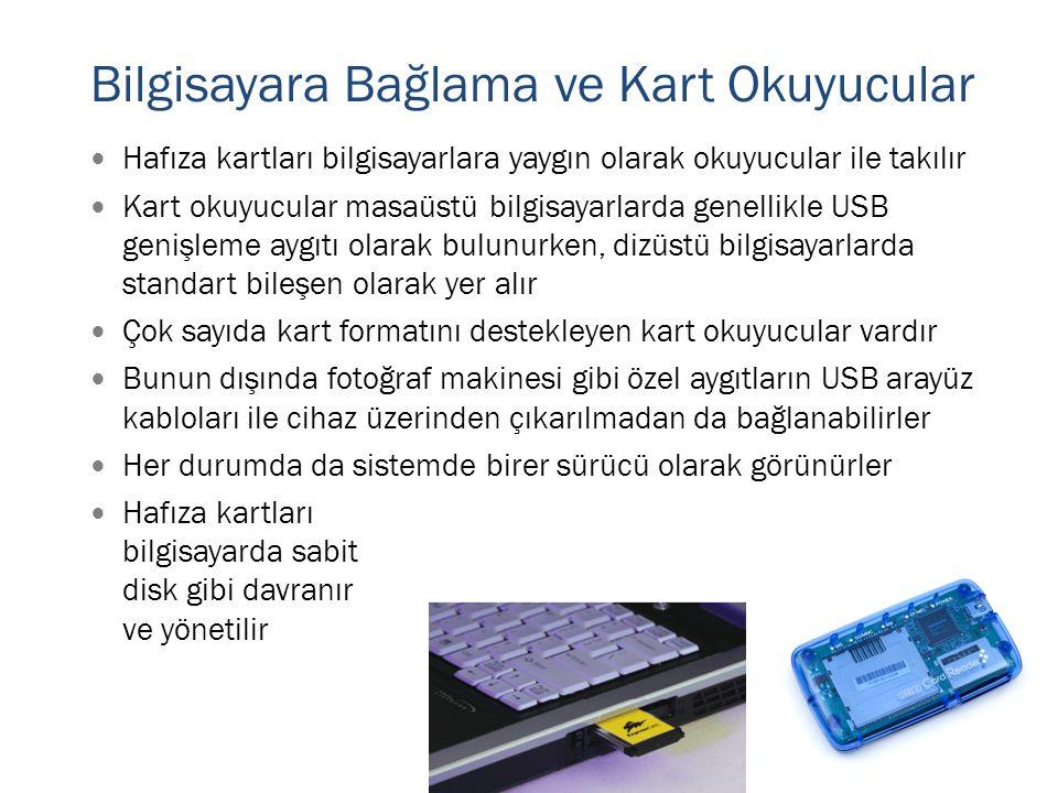  Hafıza kartları bilgisayarlara yaygın olarak okuyucular ile takılır  Kart okuyucular masaüstü bilgisayarlarda genellikle USB genişleme aygıtı olara