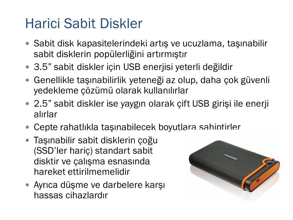 """Harici Sabit Diskler  Sabit disk kapasitelerindeki artış ve ucuzlama, taşınabilir sabit disklerin popülerliğini artırmıştır  3.5"""" sabit diskler için"""