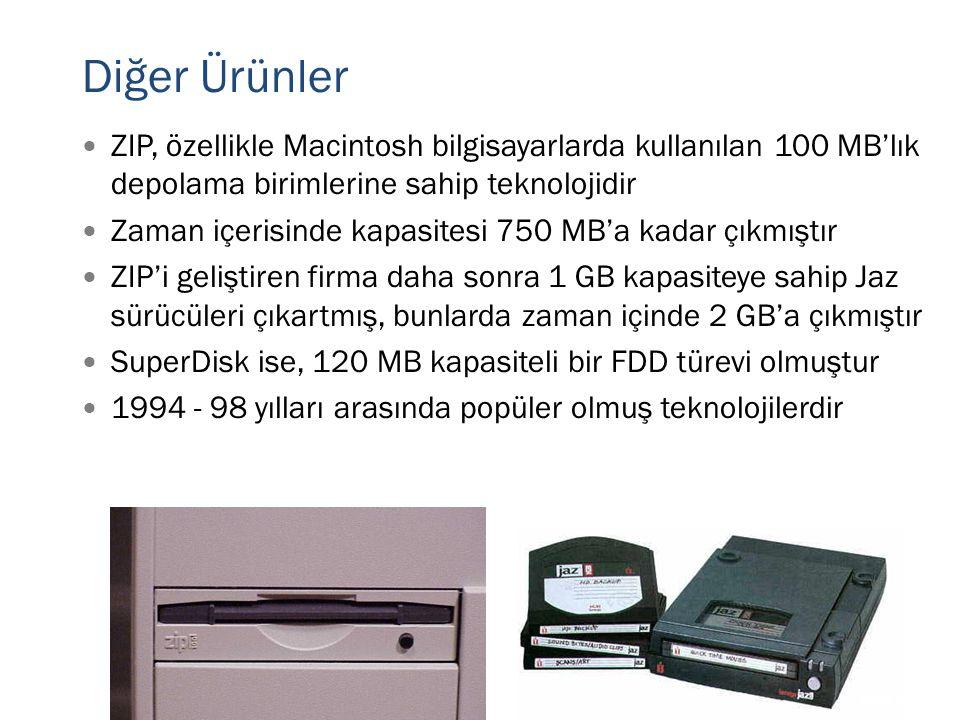 Diğer Ürünler  ZIP, özellikle Macintosh bilgisayarlarda kullanılan 100 MB'lık depolama birimlerine sahip teknolojidir  Zaman içerisinde kapasitesi 7