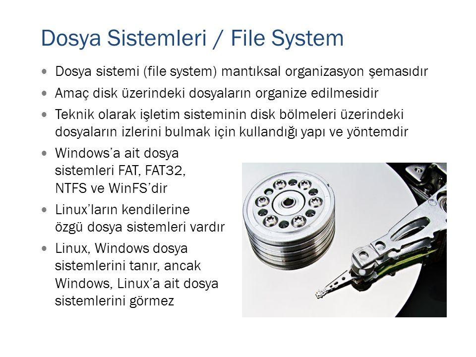  Dosya sistemi (file system) mantıksal organizasyon şemasıdır  Amaç disk üzerindeki dosyaların organize edilmesidir  Teknik olarak işletim sistemin