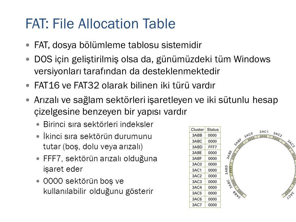 FAT: File Allocation Table  FAT, dosya bölümleme tablosu sistemidir  DOS için geliştirilmiş olsa da, günümüzdeki tüm Windows versiyonları tarafından