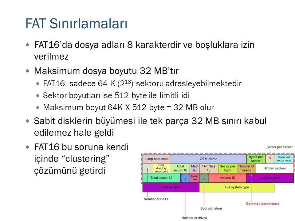 FAT Sınırlamaları  FAT16'da dosya adları 8 karakterdir ve boşluklara izin verilmez  Maksimum dosya boyutu 32 MB'tır  FAT16, sadece 64 K (2 16 ) sek