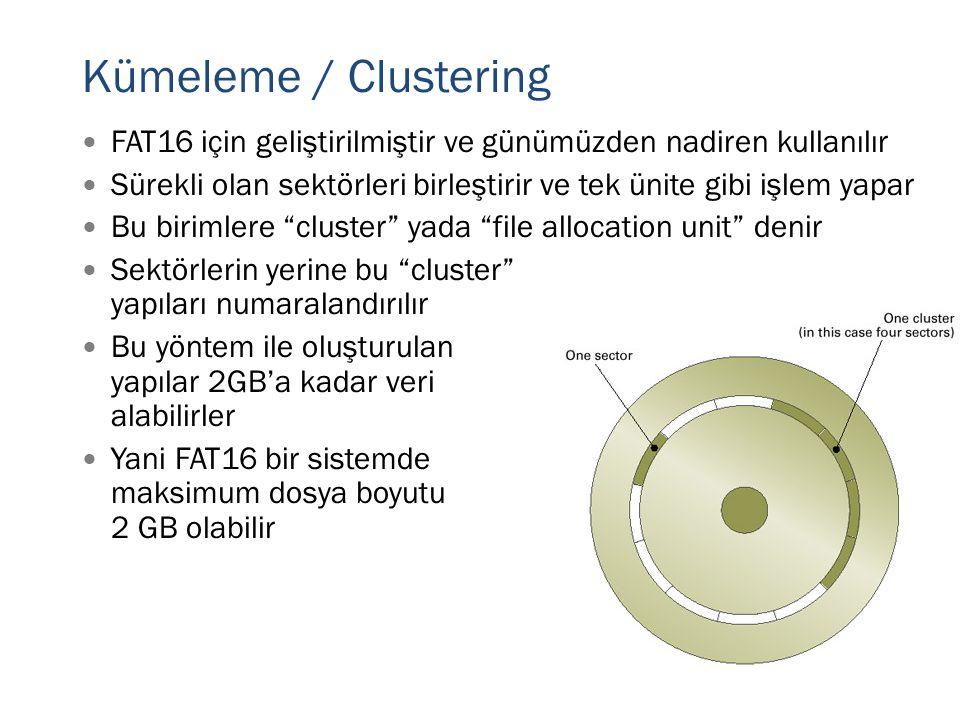 """ FAT16 için geliştirilmiştir ve günümüzden nadiren kullanılır  Sürekli olan sektörleri birleştirir ve tek ünite gibi işlem yapar  Bu birimlere """"clu"""