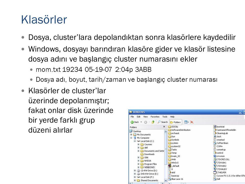 Klasörler  Dosya, cluster'lara depolandıktan sonra klasörlere kaydedilir  Windows, dosyayı barındıran klasöre gider ve klasör listesine dosya adını