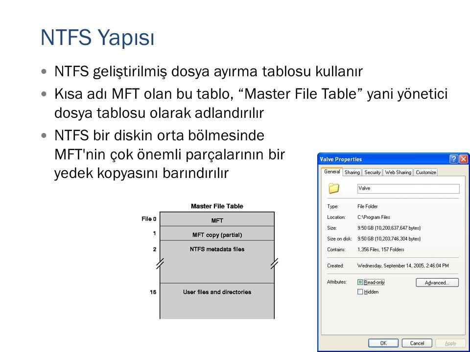 """NTFS Yapısı  NTFS geliştirilmiş dosya ayırma tablosu kullanır  Kısa adı MFT olan bu tablo, """"Master File Table"""" yani yönetici dosya tablosu olarak ad"""