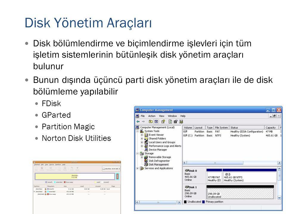 Disk Yönetim Araçları  Disk bölümlendirme ve biçimlendirme işlevleri için tüm işletim sistemlerinin bütünleşik disk yönetim araçları bulunur  Bunun