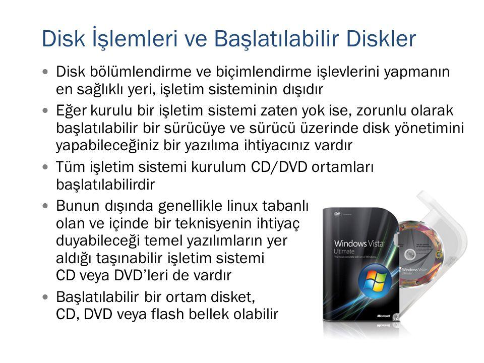 Disk İşlemleri ve Başlatılabilir Diskler  Disk bölümlendirme ve biçimlendirme işlevlerini yapmanın en sağlıklı yeri, işletim sisteminin dışıdır  Eğe