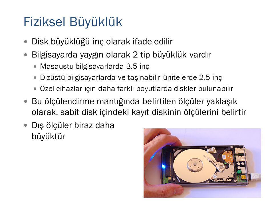 Fiziksel Büyüklük  Disk büyüklüğü inç olarak ifade edilir  Bilgisayarda yaygın olarak 2 tip büyüklük vardır  Masaüstü bilgisayarlarda 3.5 inç  Diz