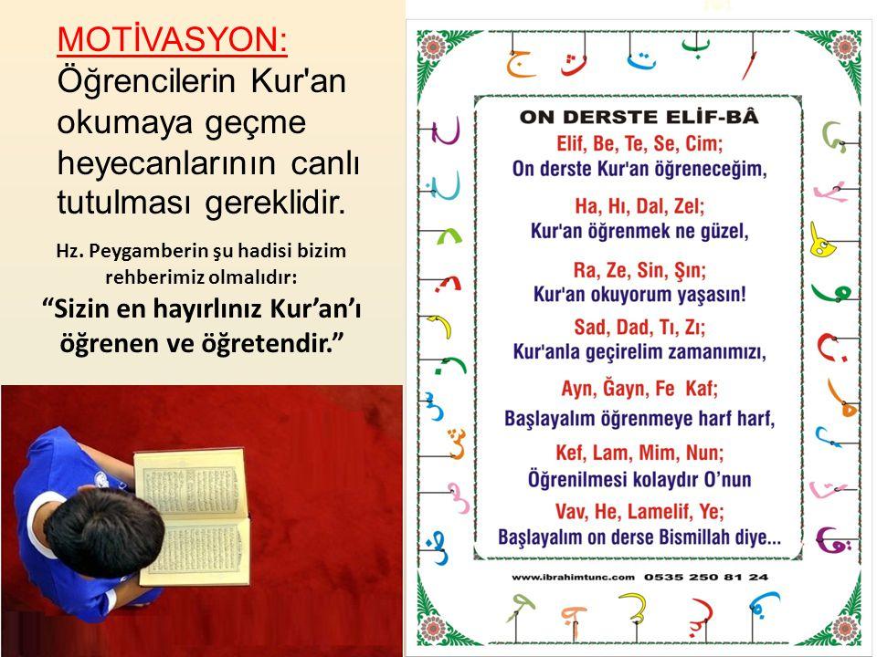 Usul Esastan Önce Gelir Kur'an-ı Kerim'i okumayı bilen Kur'an-ı Kerim'i başkasına öğretir algısı yerleşik hal almıştır.