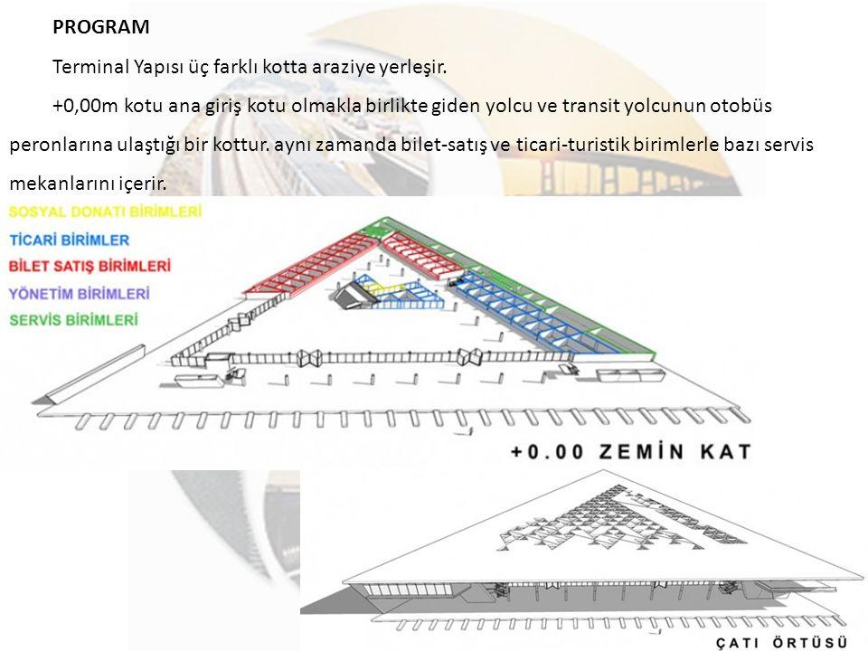 PROGRAM Terminal Yapısı üç farklı kotta araziye yerleşir. +0,00m kotu ana giriş kotu olmakla birlikte giden yolcu ve transit yolcunun otobüs peronları