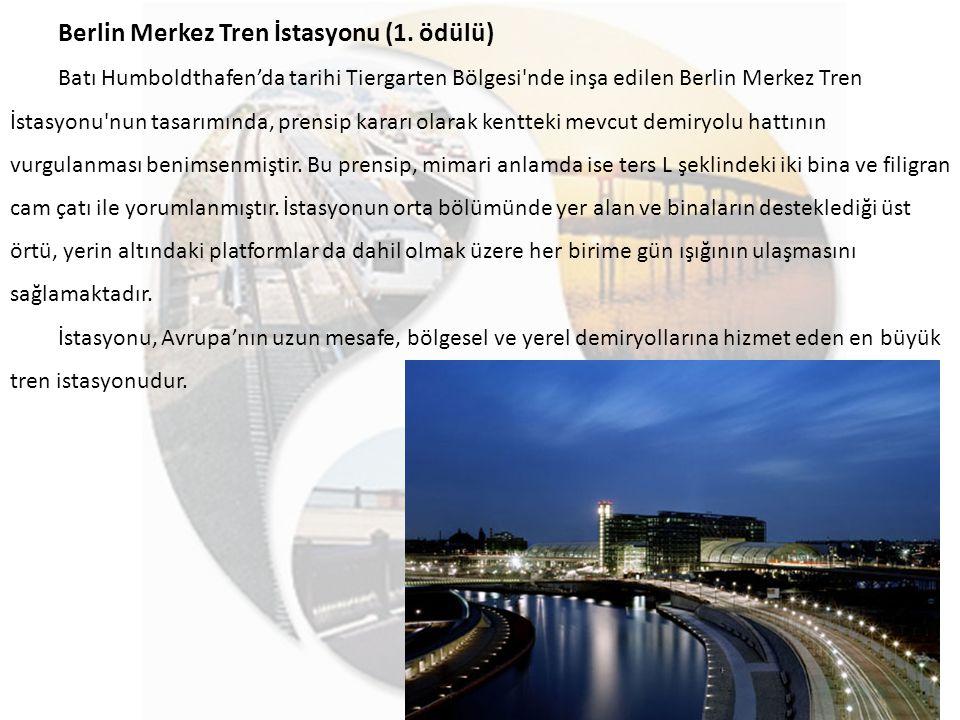 Berlin Merkez Tren İstasyonu (1. ödülü) Batı Humboldthafen'da tarihi Tiergarten Bölgesi'nde inşa edilen Berlin Merkez Tren İstasyonu'nun tasarımında,