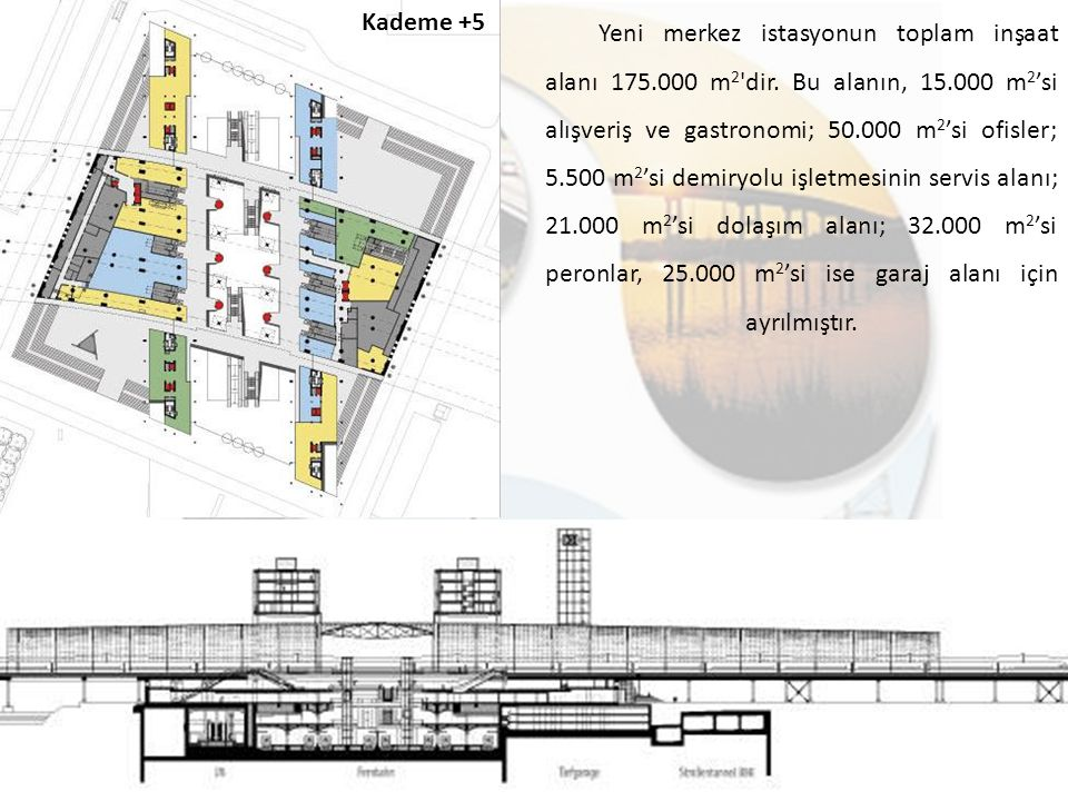 Kademe +5 Yeni merkez istasyonun toplam inşaat alanı 175.000 m 2 'dir. Bu alanın, 15.000 m 2 'si alışveriş ve gastronomi; 50.000 m 2 'si ofisler; 5.50