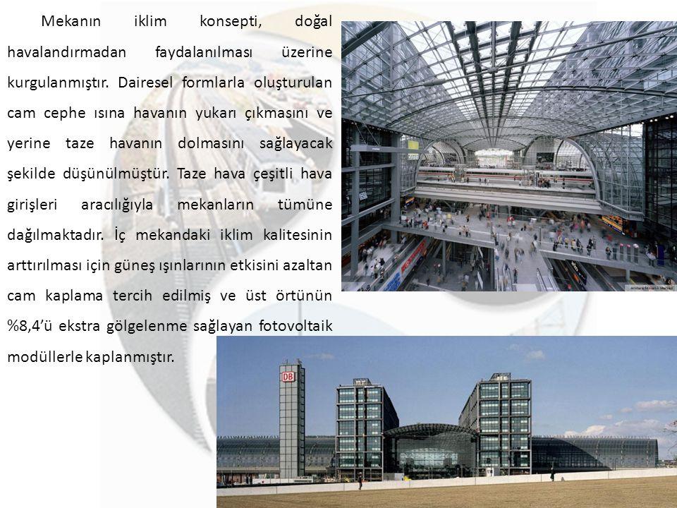 Mekanın iklim konsepti, doğal havalandırmadan faydalanılması üzerine kurgulanmıştır. Dairesel formlarla oluşturulan cam cephe ısına havanın yukarı çık