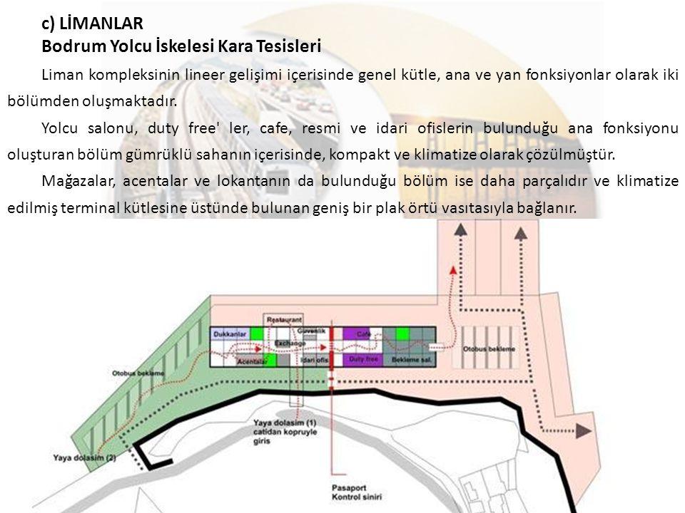 c) LİMANLAR Bodrum Yolcu İskelesi Kara Tesisleri Liman kompleksinin lineer gelişimi içerisinde genel kütle, ana ve yan fonksiyonlar olarak iki bölümde