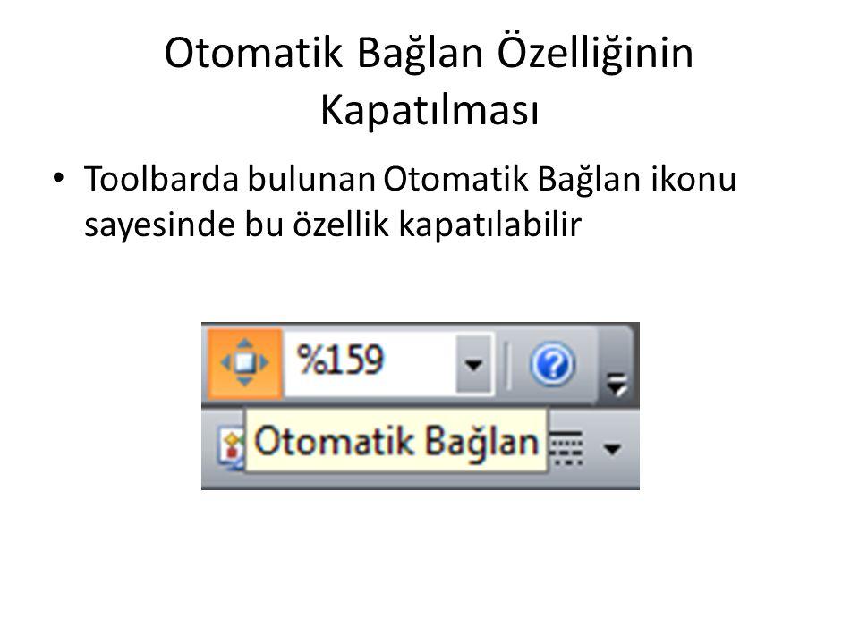 Otomatik Bağlan Özelliğinin Kapatılması • Toolbarda bulunan Otomatik Bağlan ikonu sayesinde bu özellik kapatılabilir