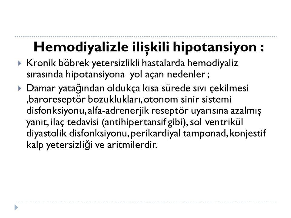 Hemodiyalizle ilişkili hipotansiyon :  Kronik böbrek yetersizlikli hastalarda hemodiyaliz sırasında hipotansiyona yol açan nedenler ;  Damar yata ğ