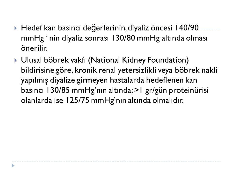  Hedef kan basıncı de ğ erlerinin, diyaliz öncesi 140/90 mmHg ' nin diyaliz sonrası 130/80 mmHg altında olması önerilir.  Ulusal böbrek vakfı (Natio