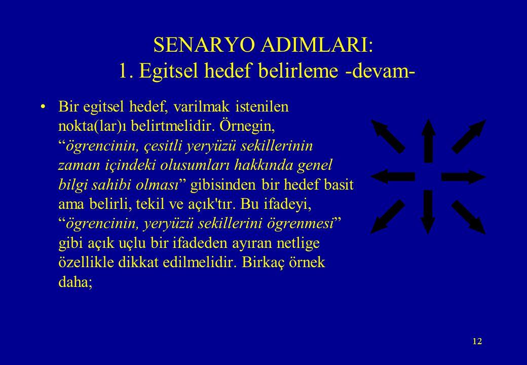 """12 SENARYO ADIMLARI: 1. Egitsel hedef belirleme -devam- •Bir egitsel hedef, varilmak istenilen nokta(lar)ı belirtmelidir. Örnegin, """"ögrencinin, çesitl"""