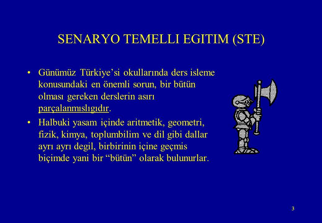 3 SENARYO TEMELLI EGITIM (STE) •Günümüz Türkiye'si okullarında ders isleme konusundaki en önemli sorun, bir bütün olması gereken derslerin asırı parça