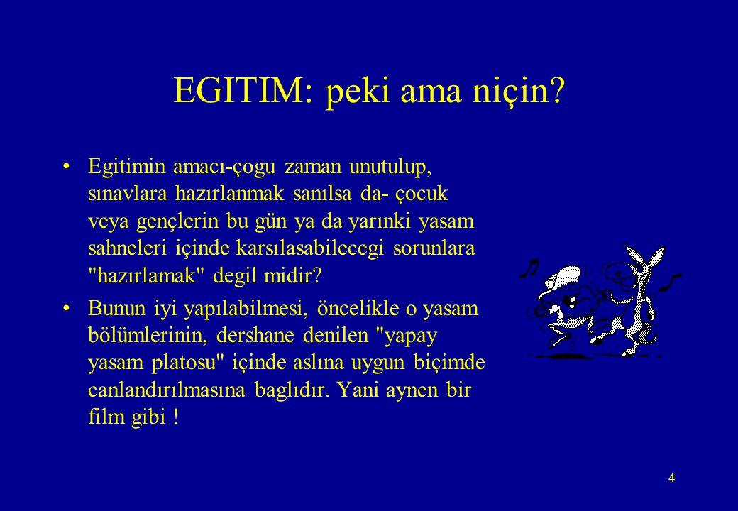 4 EGITIM: peki ama niçin? •Egitimin amacı-çogu zaman unutulup, sınavlara hazırlanmak sanılsa da- çocuk veya gençlerin bu gün ya da yarınki yasam sahne