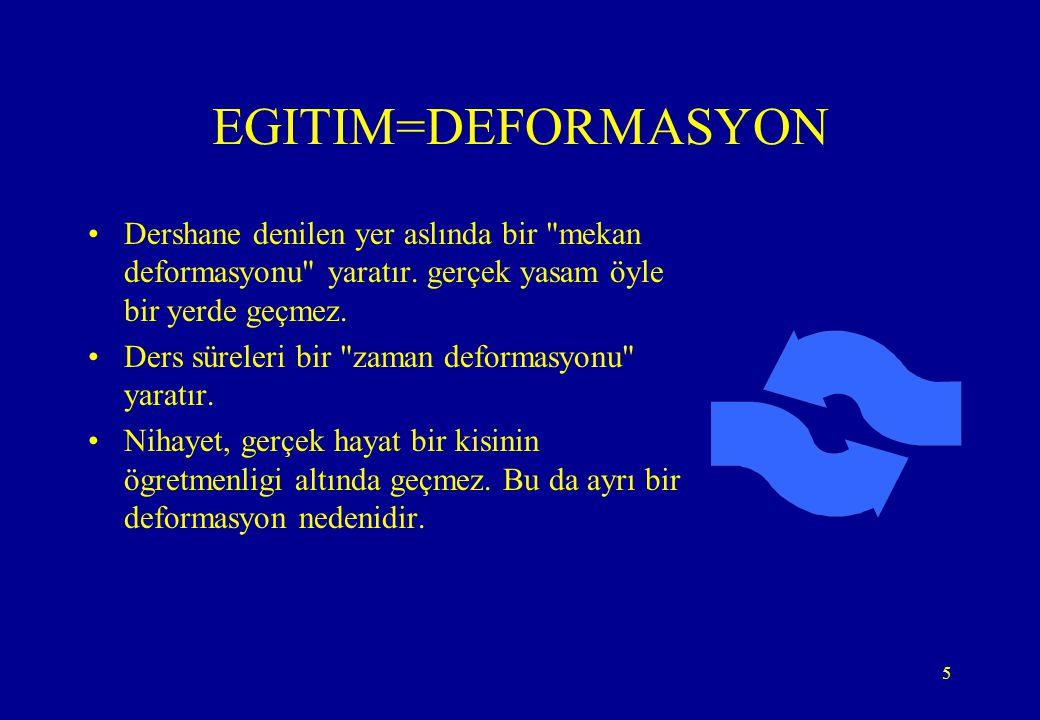 5 EGITIM=DEFORMASYON •Dershane denilen yer aslında bir