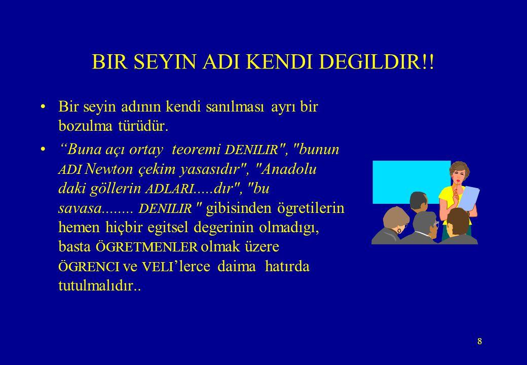 """8 BIR SEYIN ADI KENDI DEGILDIR!! •Bir seyin adının kendi sanılması ayrı bir bozulma türüdür. •""""Buna açı ortay teoremi DENILIR"""
