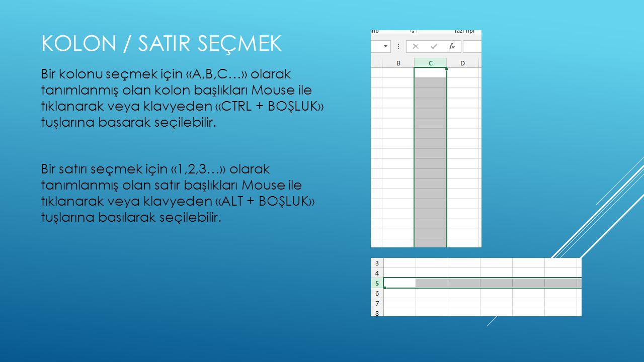 KOLON / SATIR SEÇMEK Bir kolonu seçmek için «A,B,C…» olarak tanımlanmış olan kolon başlıkları Mouse ile tıklanarak veya klavyeden «CTRL + BOŞLUK» tuşlarına basarak seçilebilir.