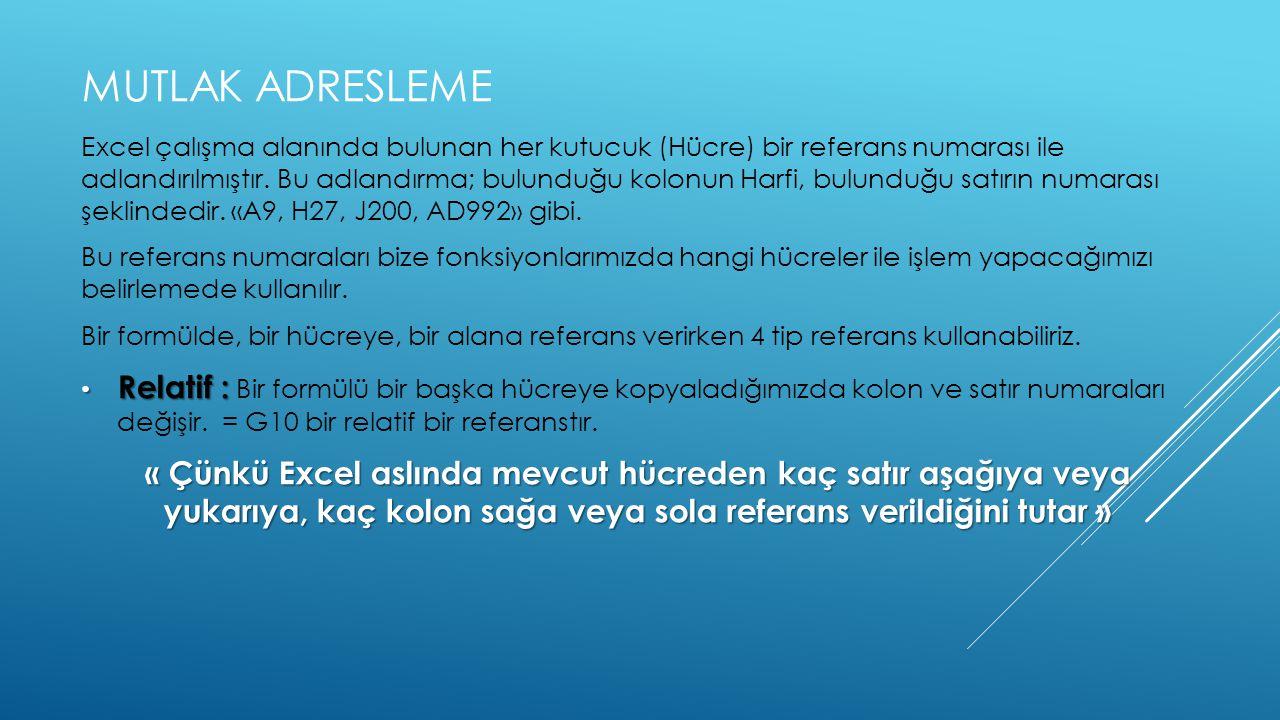 MUTLAK ADRESLEME Excel çalışma alanında bulunan her kutucuk (Hücre) bir referans numarası ile adlandırılmıştır.