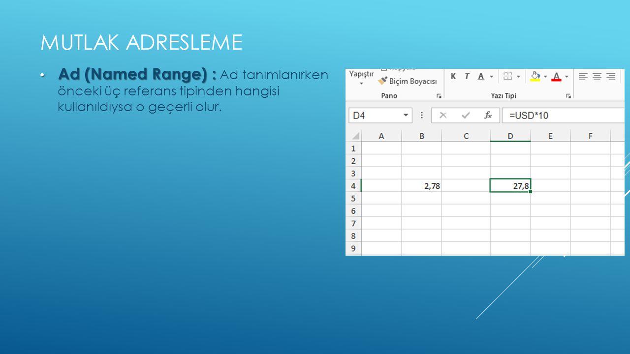 MUTLAK ADRESLEME • Ad (Named Range) : • Ad (Named Range) : Ad tanımlanırken önceki üç referans tipinden hangisi kullanıldıysa o geçerli olur.