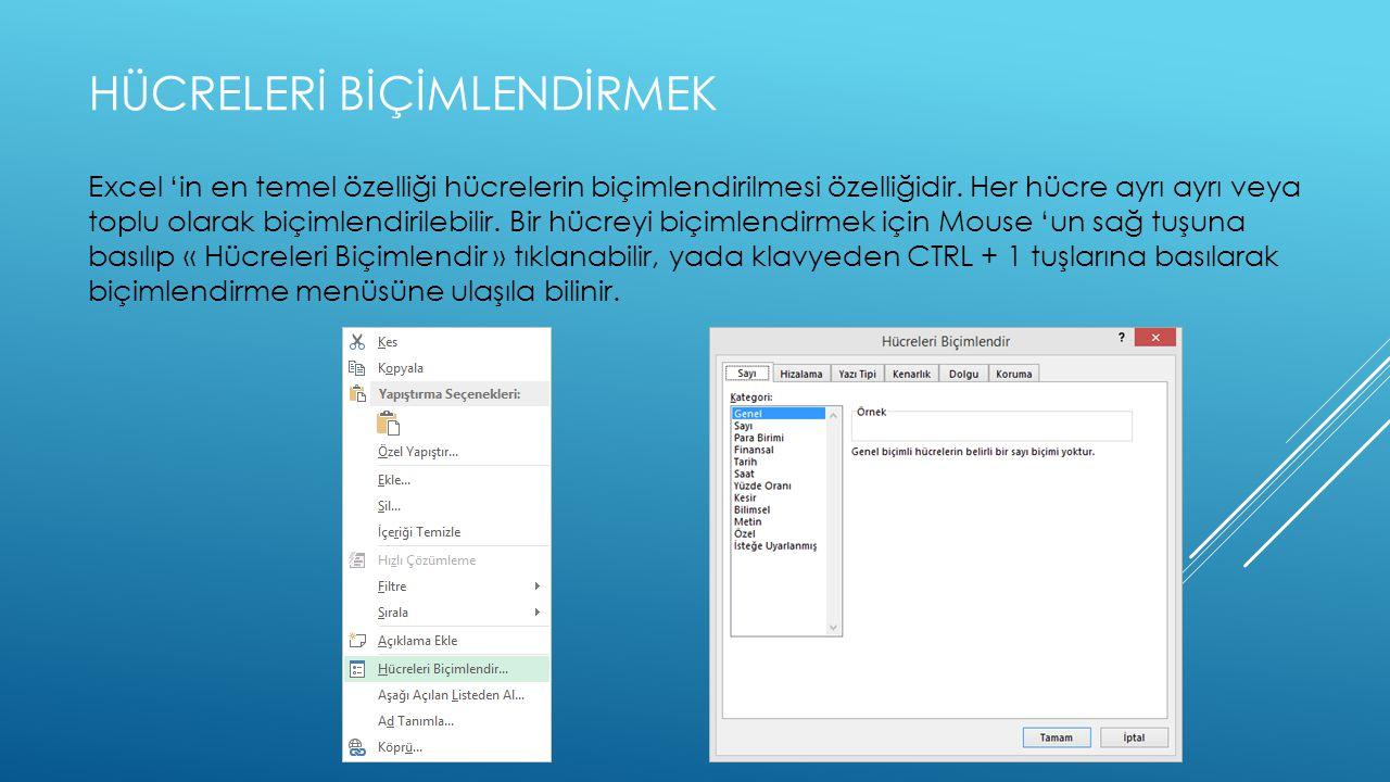 HÜCRELERİ BİÇİMLENDİRMEK Excel 'in en temel özelliği hücrelerin biçimlendirilmesi özelliğidir.