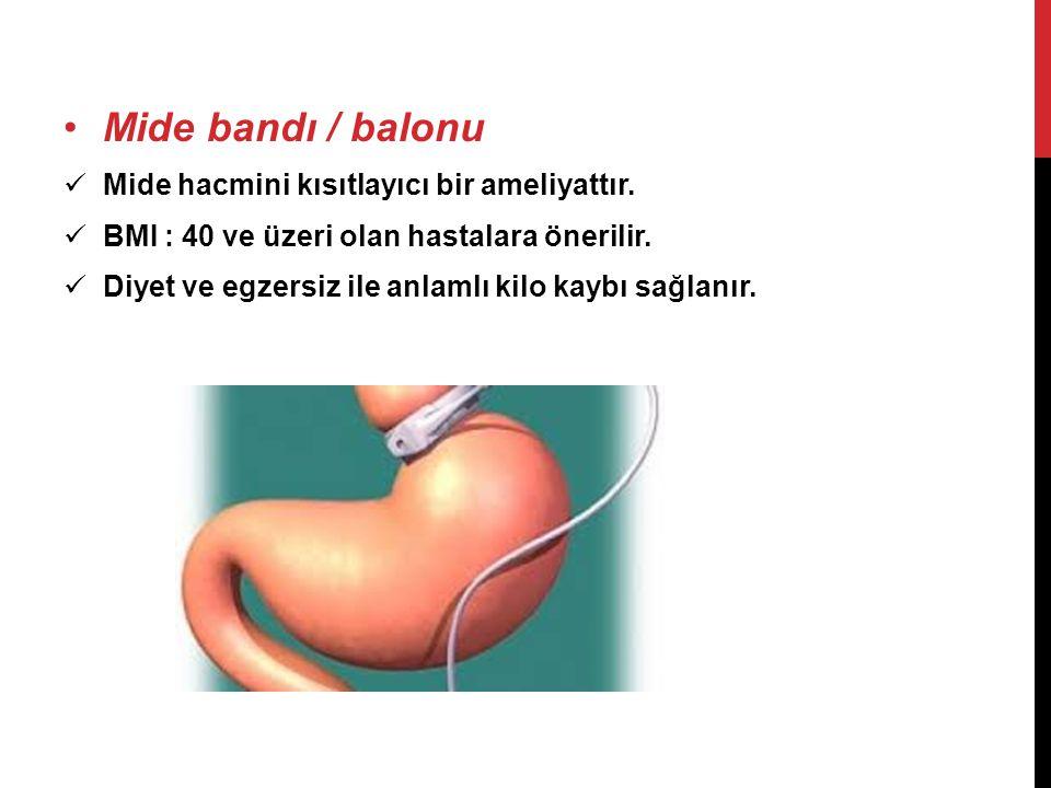 •Mide bandı / balonu  Mide hacmini kısıtlayıcı bir ameliyattır.